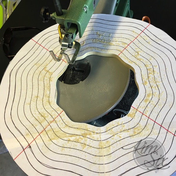 Cutting rings on scroll saw for basket