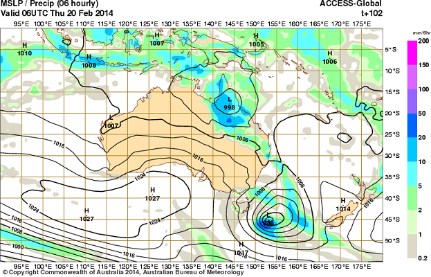 20th feb 2014 ACCESS rain forecast qld
