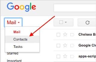 تصدير جهات الاتصال إلى Gmail