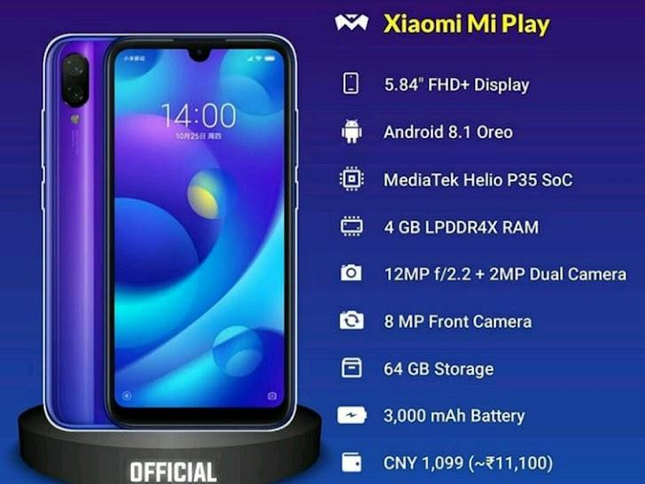 Spesifikasi dan Harga Xiaomi Mi Play yang Sudah Resmi dirilis
