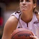 Katie Baker sets up a free throw; she was 4-4 from the line Saturday afternoon and led the team with 18 points.  Dahlberg Arena in Missoula, Mont., January 12th, 2013.