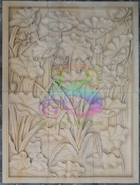 Relief lotus dan ilalang batu paras kerajinan seni pahat