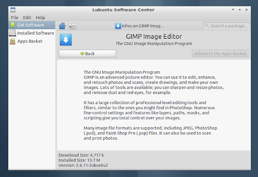 Lubuntu Software Center