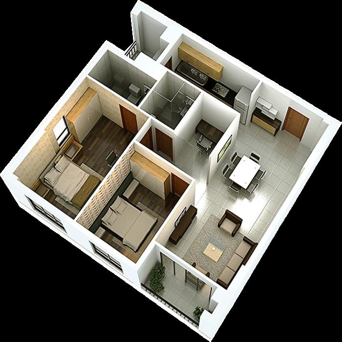 Phối cảnh 3D căn hộ 2 phòng ngủ DT: 83.09m2