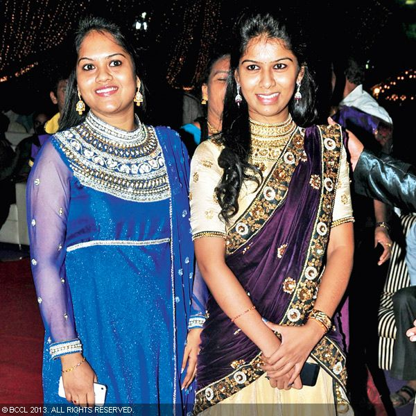 Shwetha and Swathi spotted during the wedding reception party of Naveen and Varsha, held recently in Hyderabad.