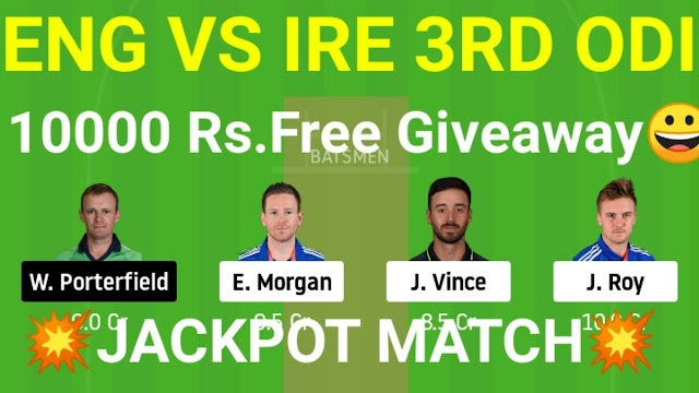 ENG vs IRE Dream11.  ENG vs IRE Dream11 Team Prediction  | England vs Ireland 2020: 3rd ODI– Dream 11, Fantasy Tips, Pitch Report And Playing 11