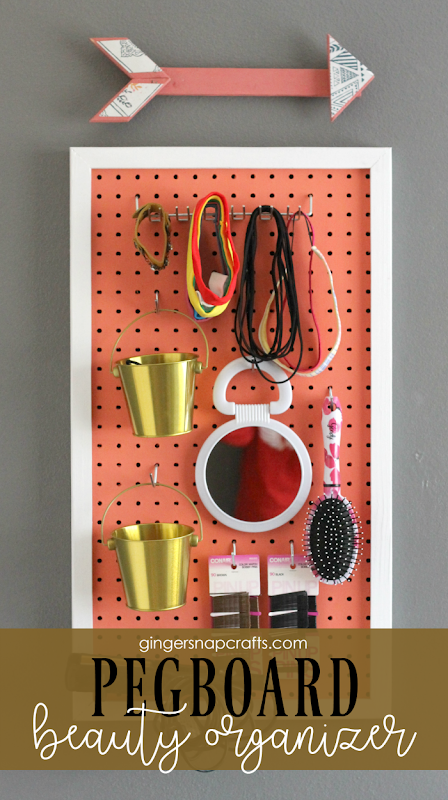 Pegboard Beauty Organizer at GingerSnapCrafts.com #organization #teenroomideas #gingersnapcrafts