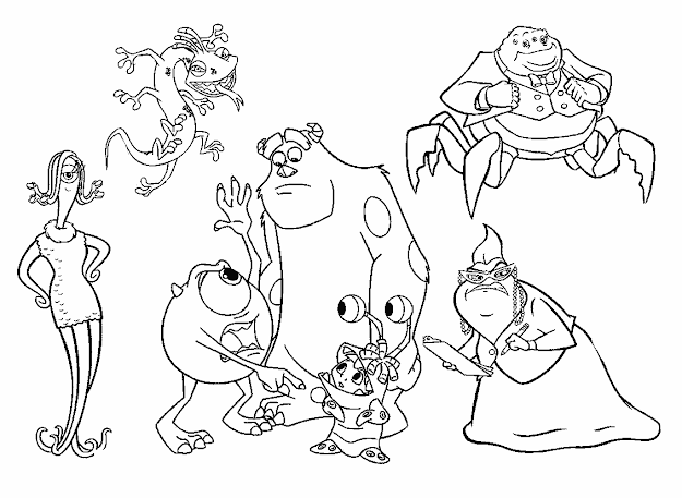 All Characters Monsters Inc Coloring Pages