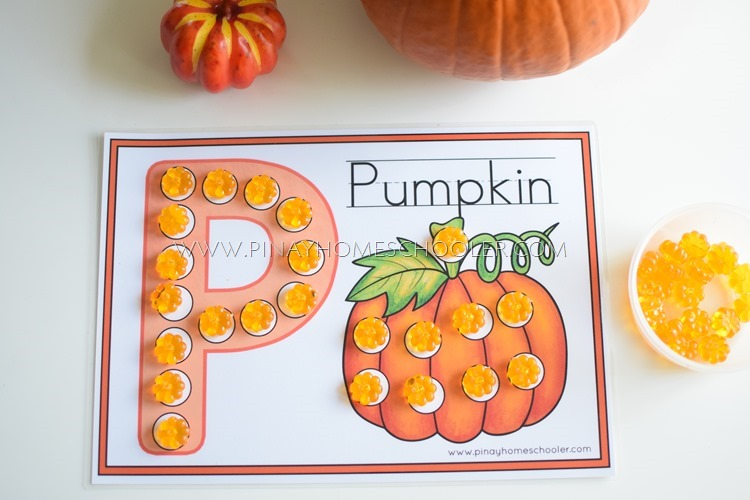 Using pumpkin counters with the activity sheet