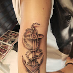 rope chain black and white anchor arm - tattoo designs