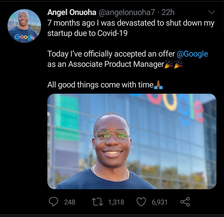 Meet Angel Onuoha, Associate Manager At Google