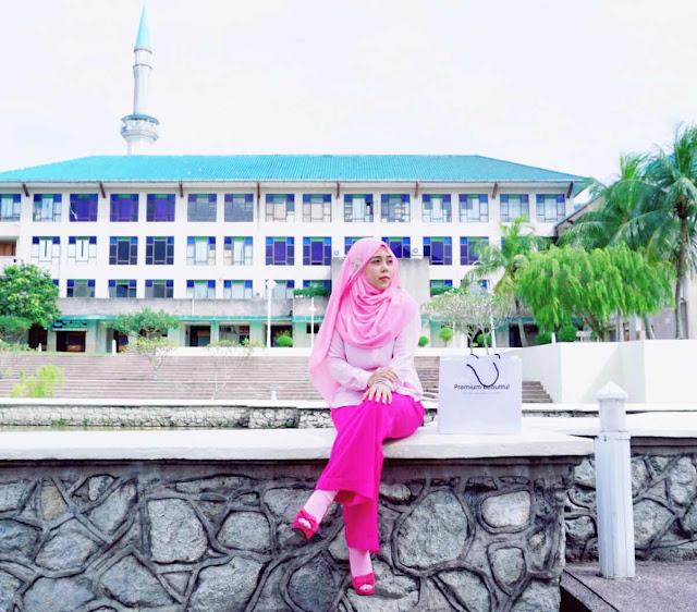 premium beautiful UIA Gombak, Pink Dress muslimah ootd-salleha roslan-korset PB-rawatan slip disc-nak kurus sihat selamat cepat-bbglo collagen