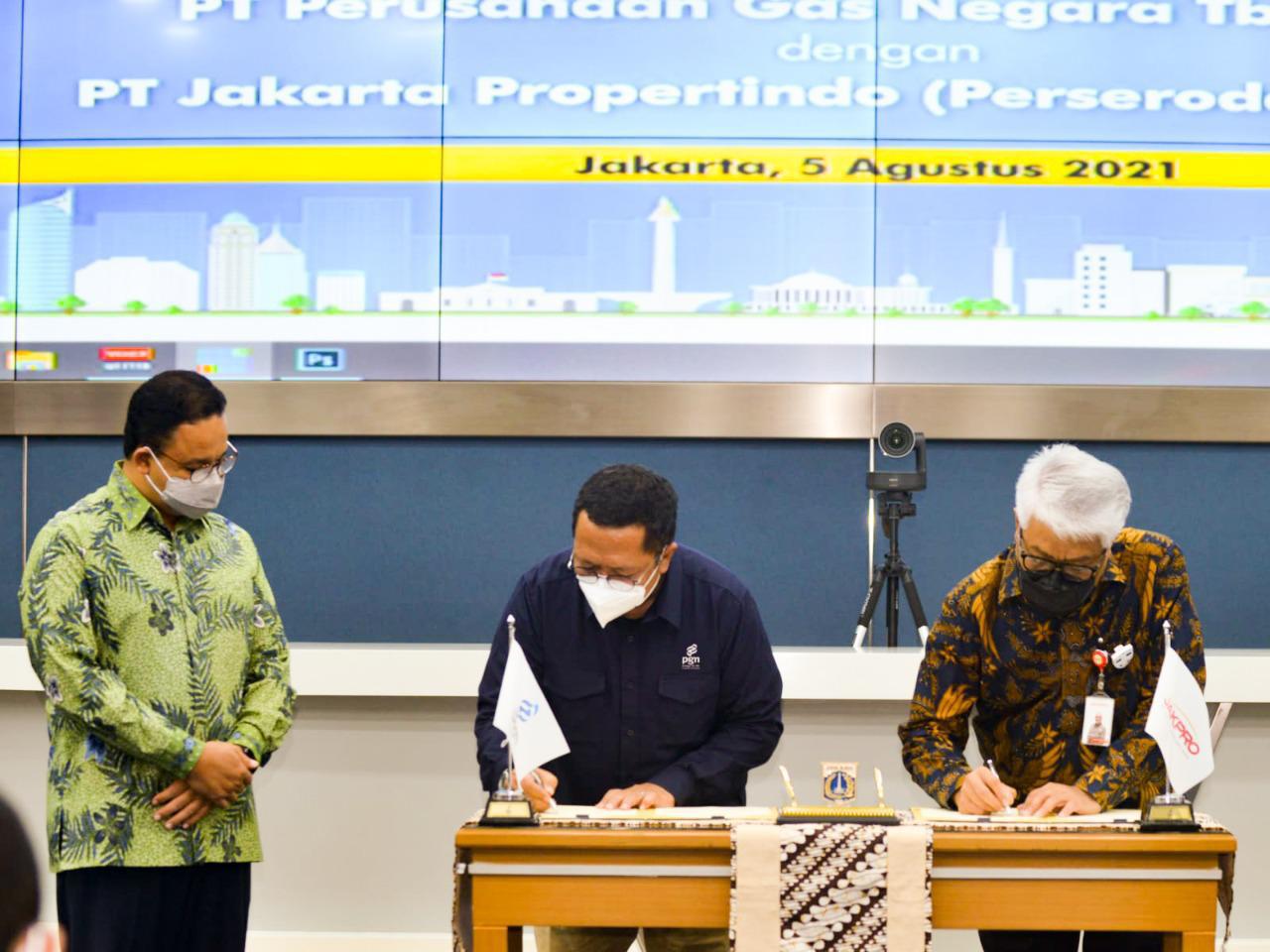 PGN dan Jakpro Tandatangani HOA Penyediaan Energi Gas Bumi dan Utilitas, Anies: Jadi Titik Awal Membangun Blueprint Distribusi Energi di Jakarta