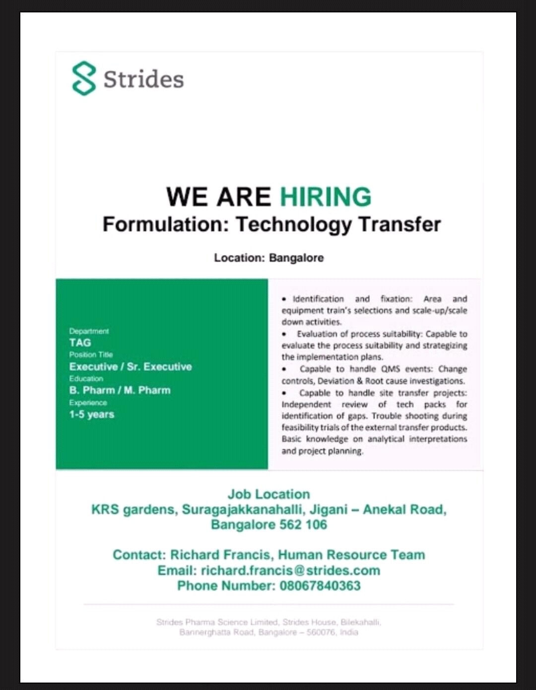 Strides - Urgent Opening for Technology Transfer   Apply CV Now