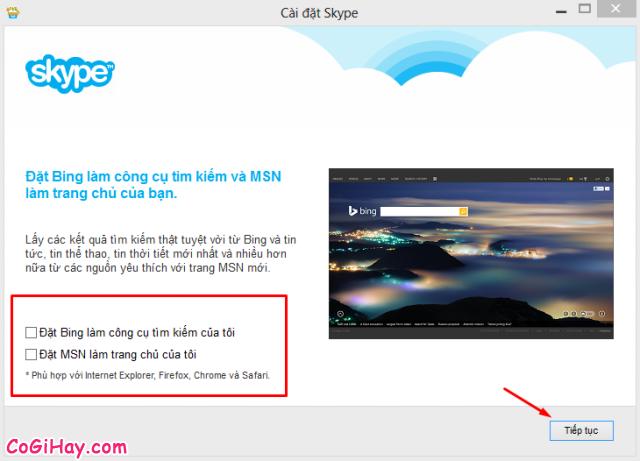 cài đặt khác cho Skype