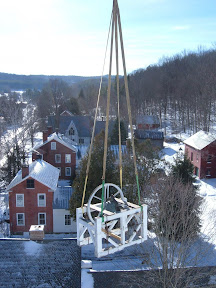 The bell and frame are flown out of the steeple.