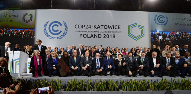 Delegates at the closing ceremony of the Katowice climate talks, 15 December 2018. Photo: Marek Zimny / AAP Image