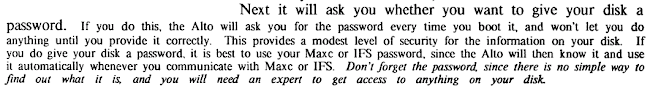 Password protection is described in the Alto User's Handbook page 5.