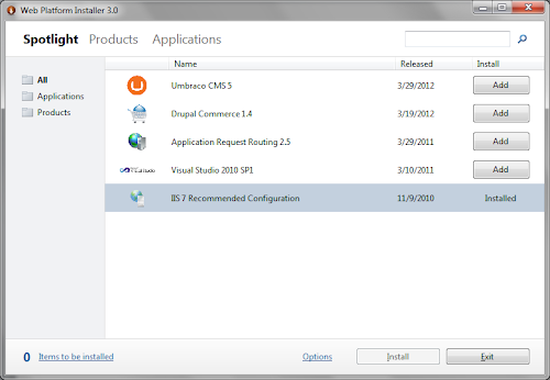 Web Platform Installer IIS 7 Recommended Configuration