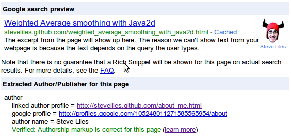 rich-snippets test tool example of how search-result listings could look