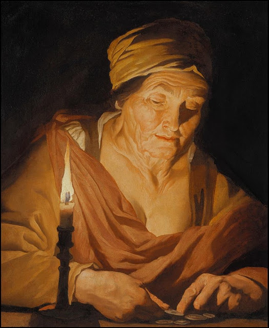 Matthias Stom - Woman counting coins by candlelight