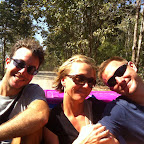 Tom, Line and Nick in the back of the truck on the way to see Maw Kwee school