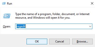 type regedit in the run dialog box