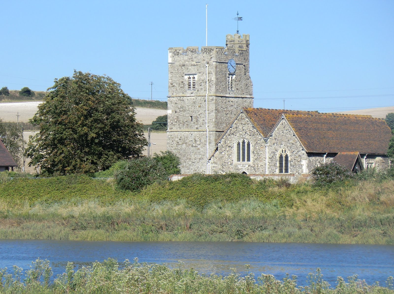 CIMG3943 Wouldham church on the far bank of the River Medway