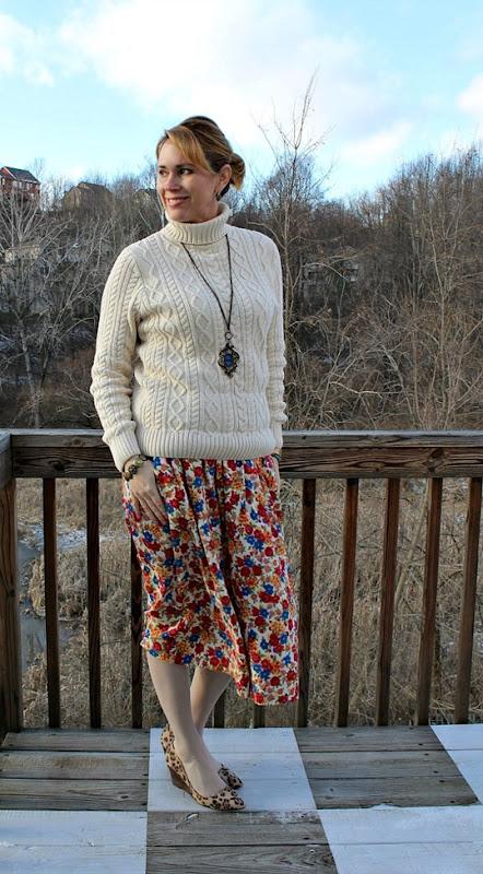 vintage-floral-skirt-leopard-wedges-1