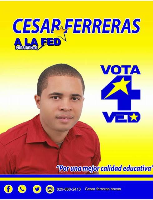 CESAR FERRERAS GANA SONDEO Y SE CONVIERTE EN EL FAVORITO PARA ELECCIONES DE LA FEDERACIÓN DE ESTUDIANTES DOMINICANO (FED), EN BARAHONA.