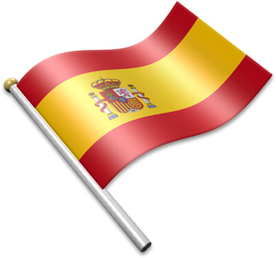 The Spanish flag on a flagpole clipart image