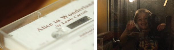 Two images: on the left, a closeup of the tape audiobook of Alice in Wonderland. On the right, Ian's son in the recording studio for Ian's audiobooks
