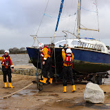 The catamaran is towed up the slipway at Rockley.  24 December 2013.  Photo credit: Steve Axtell