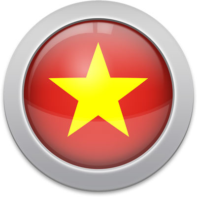 Vietnamese flag icon with a silver frame