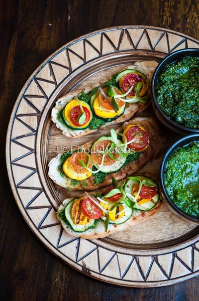 Bruschetta With Arugula Pesto & Grilled Veggies