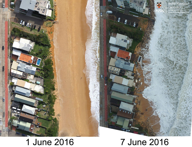 Aerial view of Collaroy Beach in Sydney, Australia, before and after the June 2016 'superstorm' that battered eastern Australia. Photo: Dr Mitchell Harley and Professor Ian Turner / UNSW Water Research Laboratory