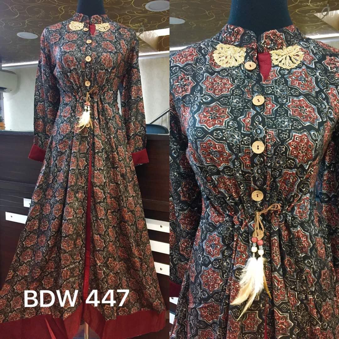 RMK : Cotton Satin Designer Gown @ Rs. 2000   Koyal Fashions Kurtis ...