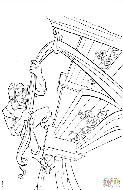Click The Flynn Rider Climbs Rapunzels Tower Coloring Pages To View  Printable Version Or Color It Online Patible With Ipad And Android  Tablets