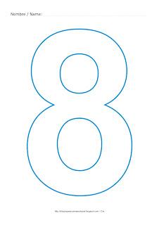 Lámina para colorear y pintar el número ocho en color cian