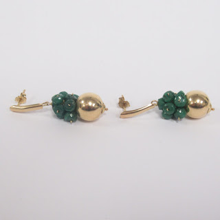 14K Gold and Green Stone Cluster Pendant Earrings