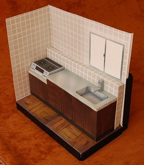 Kitchen Diorama Papercraft Set