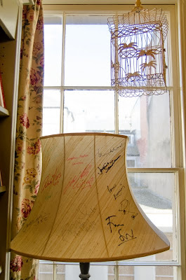 Lampshade signed by visiting authors