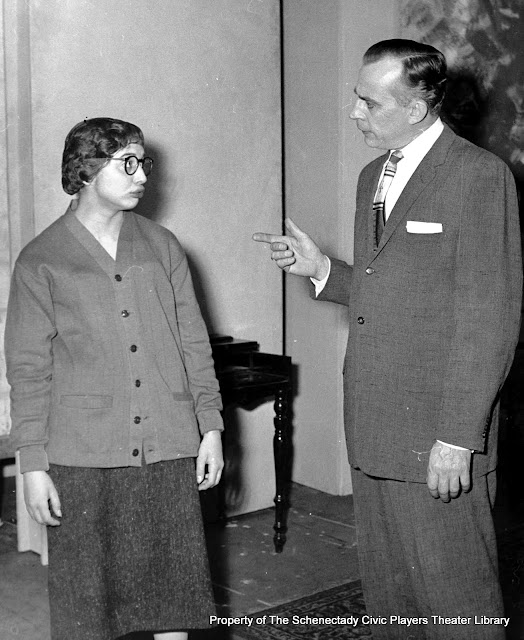 In rehearsal for AUNTIE MAME - December 1961 with Gail Scolamiero and Bob Bloomer.  Property of The Schenectady Civic Players Theater Archive.