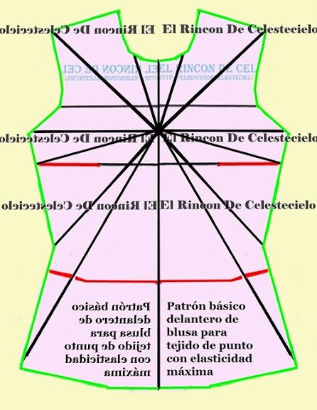 Patrón delantero para tejido de punto elasticidad máxima copiado a espejo