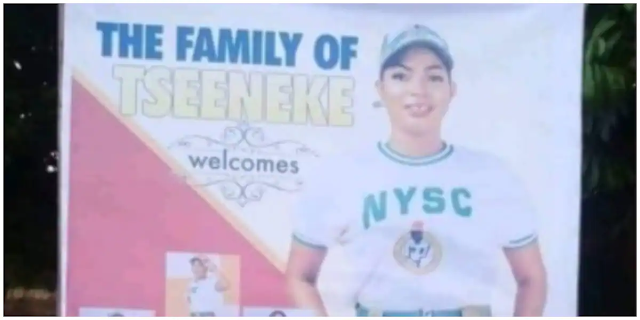 Funny reactions follow after a family put up a banner to welcome their daughter from NYSC