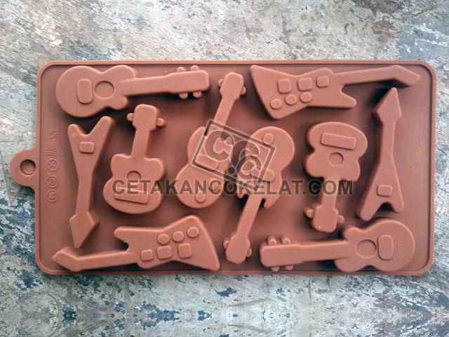 cetakan coklat cokelat silikon gitar musik SIL071 SIL71