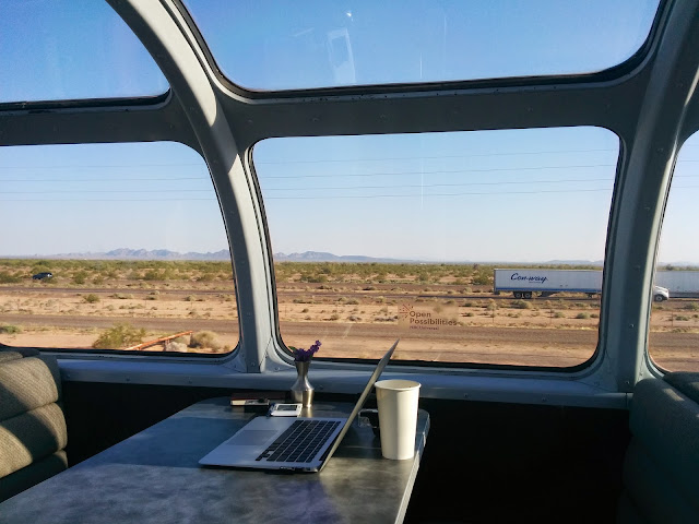 My work space on the dome car with a 180 degree view