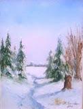 zimowa ścieżka, olej, płótno, 18x24cm
