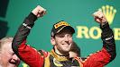 Romain Grosjean, Lotus F1, 2nd position, arrives on the podium