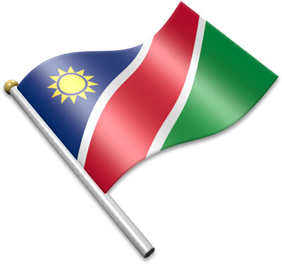 The Namibian flag on a flagpole clipart image